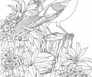Coloriage et dessins gratuit paysage de Fleur et animaux adultes à imprimer