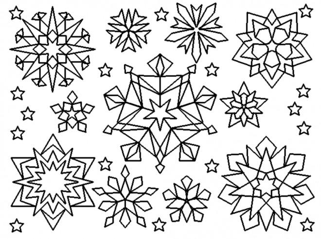 Coloriage flocons de neige en couleur dessin gratuit imprimer - Dessin etoile des neiges ...
