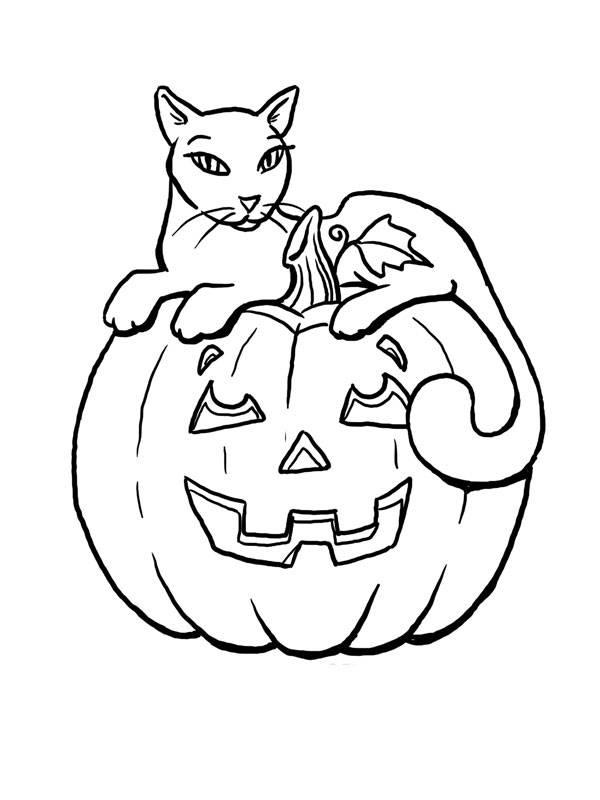 Coloriage et dessins gratuits Chat et citrouille d'halloween à imprimer