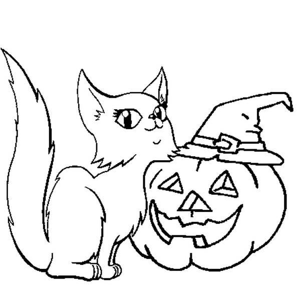 Coloriage et dessins gratuits Chat et drôle de citrouille d'Halloween à imprimer
