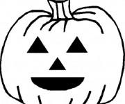 Coloriage Citrouille d'Halloween avec yeux triangulaires