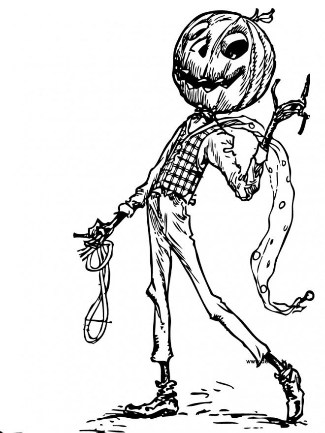 Coloriage et dessins gratuits Citrouille d'Halloween en personne à imprimer