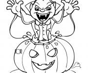 Coloriage Citrouille d'Halloween et Dracula