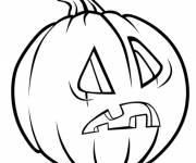 Coloriage Citrouille d'Halloween étonnée