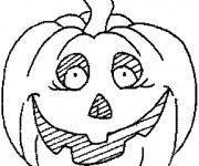 Coloriage Citrouille d'Halloween Horreur