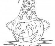 Coloriage Citrouille d'Halloween  porte Un Chapeau décoré