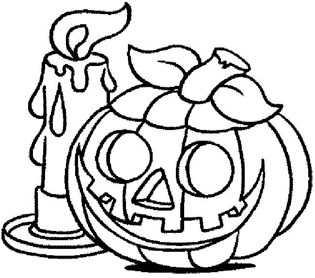 Coloriage et dessins gratuits Citrouille d'Halloween près d'une Bougie à imprimer