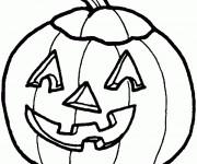 Coloriage Citrouille d'Halloween  qui fait peur