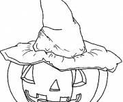 Coloriage Citrouille et chapeau de sorcière