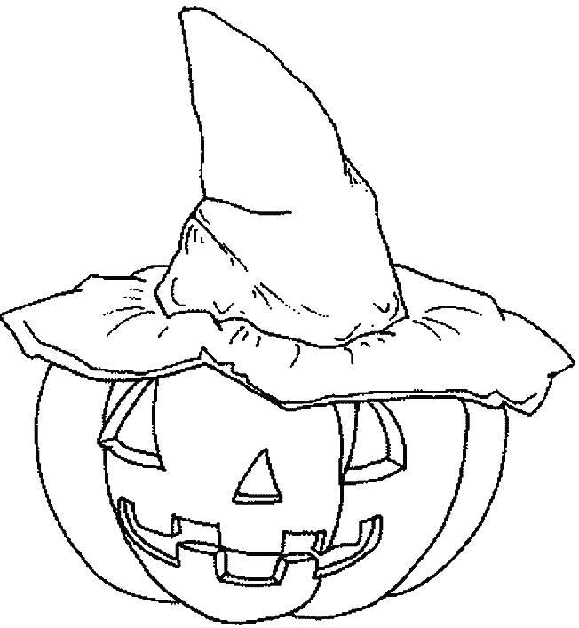 Coloriage et dessins gratuits Citrouille et chapeau de sorcière à imprimer