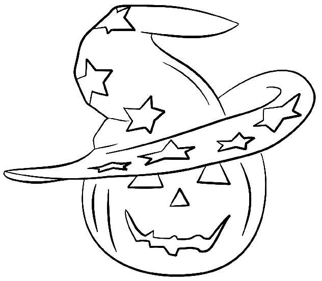 Coloriage et dessins gratuits Citrouille et son chapeau magique à imprimer
