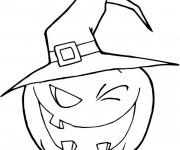 Coloriage Citrouille  porte chapeau de sorcière