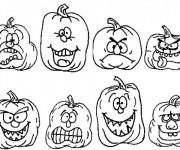Coloriage et dessins gratuit Citrouilles humoristique à imprimer