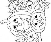 Coloriage Des Citrouilles d'Halloween en Champ
