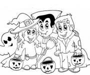 Coloriage enfants halloween et leurs citrouilles
