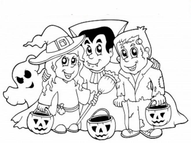 Coloriage et dessins gratuits enfants halloween et leurs citrouilles à imprimer