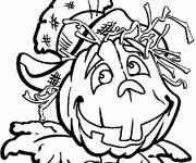 Coloriage Épouvantail avec un tête de citrouille