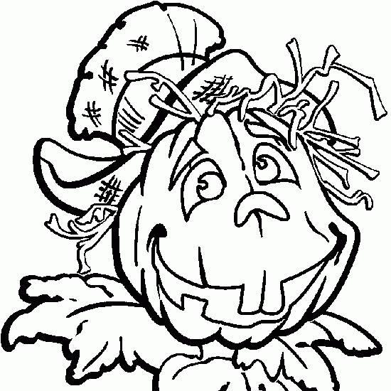 Coloriage et dessins gratuits Épouvantail avec un tête de citrouille à imprimer