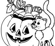 Coloriage et dessins gratuit Halloween chat noir et citrouille à imprimer