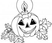 Coloriage Halloween Citrouille et Bougie