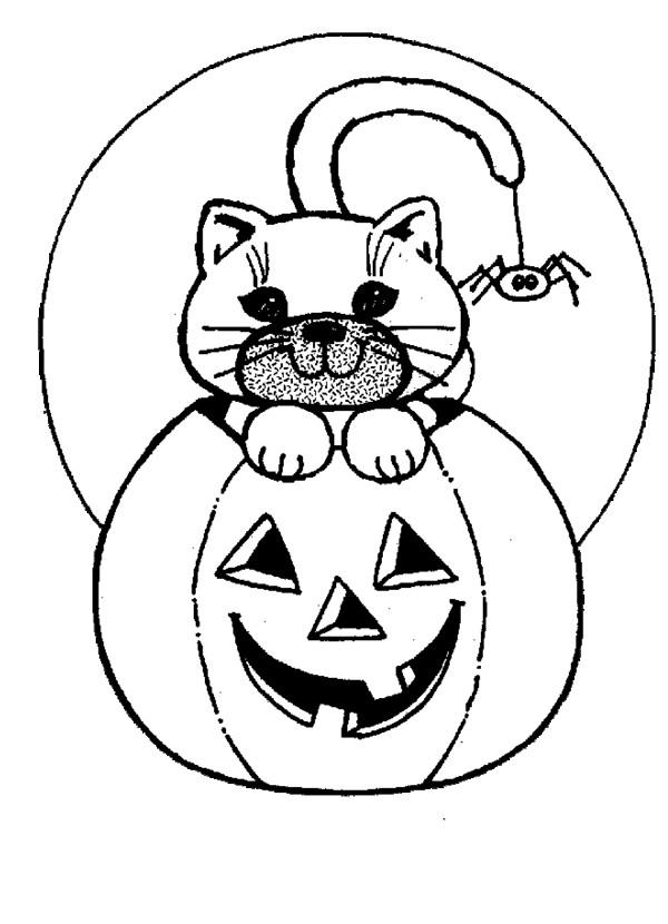 Coloriage et dessins gratuits Halloween Citrouille et Chat à imprimer