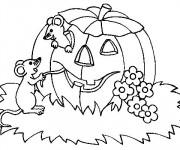 Coloriage Halloween Citrouille et Les Souris