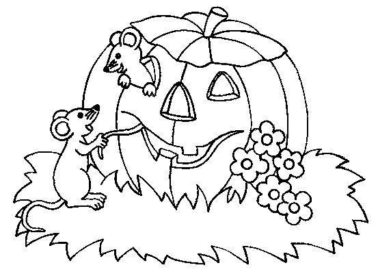Coloriage et dessins gratuits Halloween Citrouille et Les Souris à imprimer
