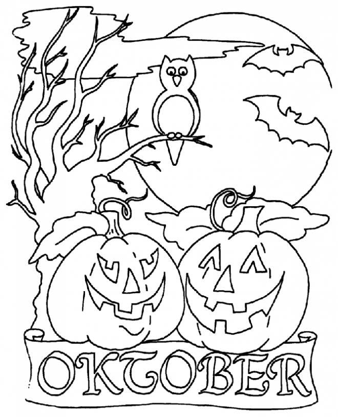 Coloriage et dessins gratuits Halloween citrouille octobre à imprimer