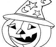 Coloriage Halloween Citrouille qui porte Un Chapeau