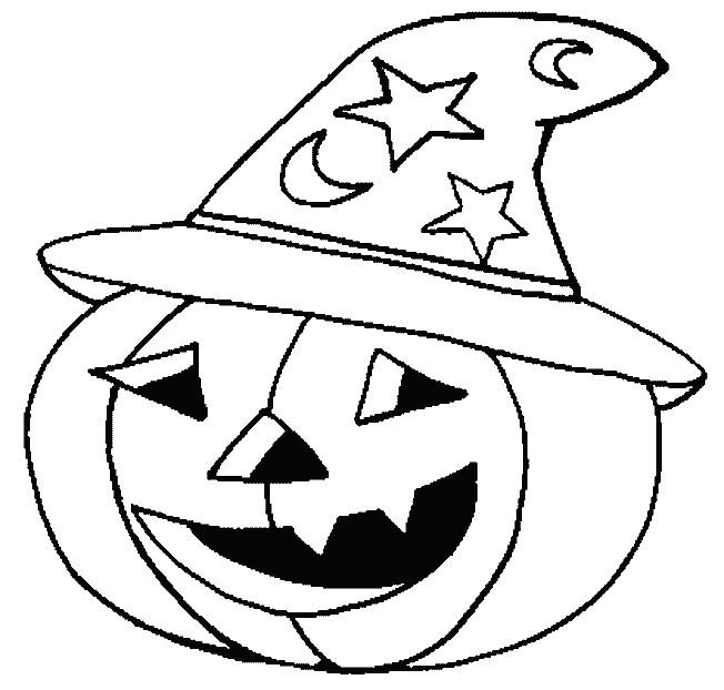 Coloriage halloween citrouille qui porte un chapeau - Dessin halloween a imprimer ...
