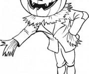 Coloriage dessin  Halloween épouvantail et tête de citrouille
