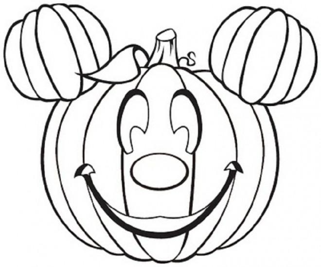 Coloriage et dessins gratuits Halloween Mickey en citrouille à imprimer