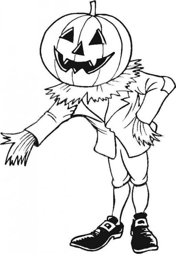 Coloriage et dessins gratuits Halloween  tête de citrouille à imprimer