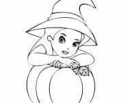 Coloriage La sorcière et sa citrouille d'Halloween