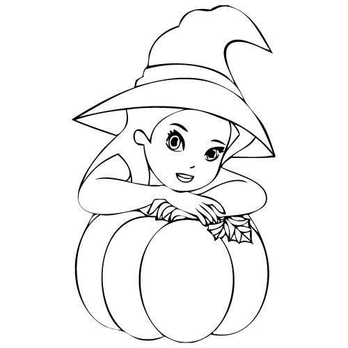 Coloriage et dessins gratuits La sorcière et sa citrouille d'Halloween à imprimer
