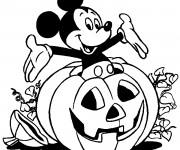 Coloriage Mickey Mouse dans La Citrouille d'Halloween