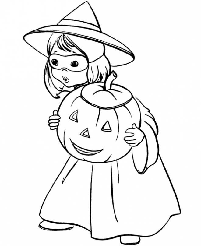 Coloriage et dessins gratuits Petite fille d'halloween avec sa citrouille à imprimer