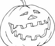 Coloriage et dessins gratuit simple citrouille d'Halloween rigolote à imprimer