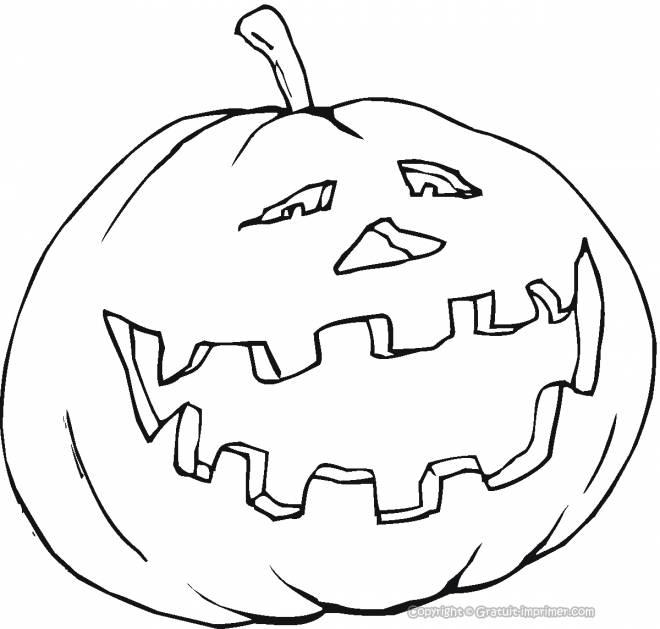 Coloriage et dessins gratuits simple citrouille d'Halloween rigolote à imprimer