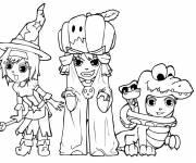 Coloriage Sorcière, crocodile et citrouille passent l'Halloween.