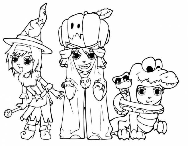 Coloriage et dessins gratuits Sorcière, crocodile et citrouille passent l'Halloween. à imprimer