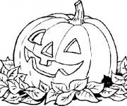 Coloriage et dessins gratuit Une Citrouille décoré pour Halloween à imprimer