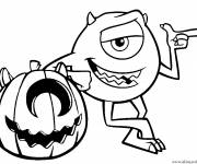 Coloriage et dessins gratuit Disney Halloween Citrouille Monster inc à imprimer