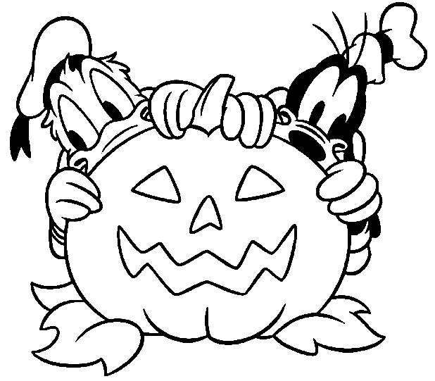 Coloriage et dessins gratuits Donald et Pluto citrouille d'Halloween à imprimer