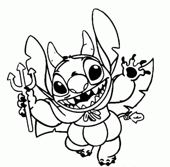 Coloriage Stitch Comme Dible Dans Disney Halloween