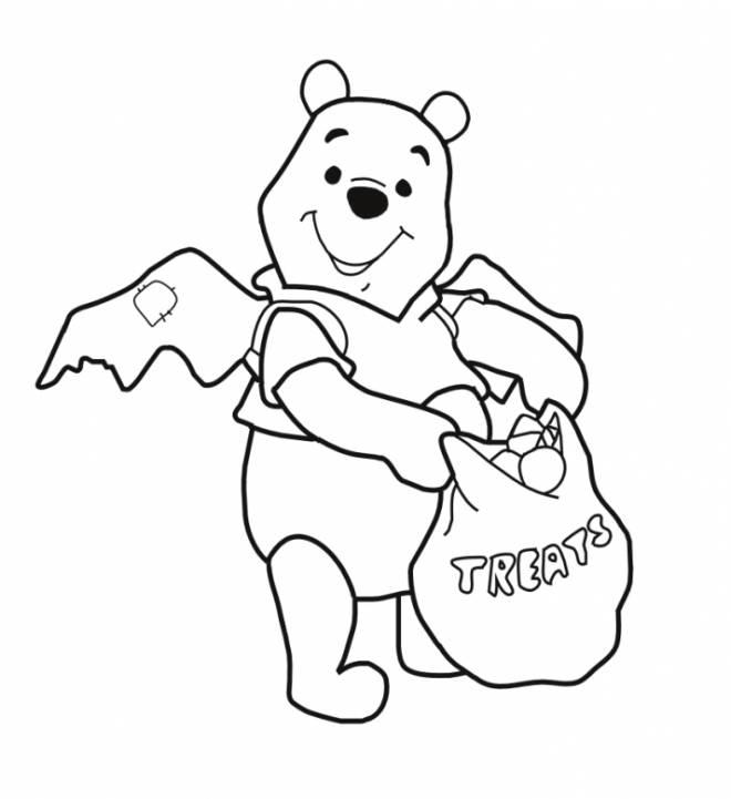 Coloriage et dessins gratuits Winnie l'ourson content de sa récolte à Halloween à imprimer