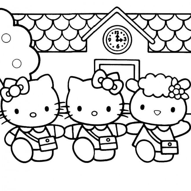 Coloriage et dessins gratuits Hello Kitty à l'école à imprimer
