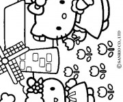 Coloriage Hello Kitty à La Campagne