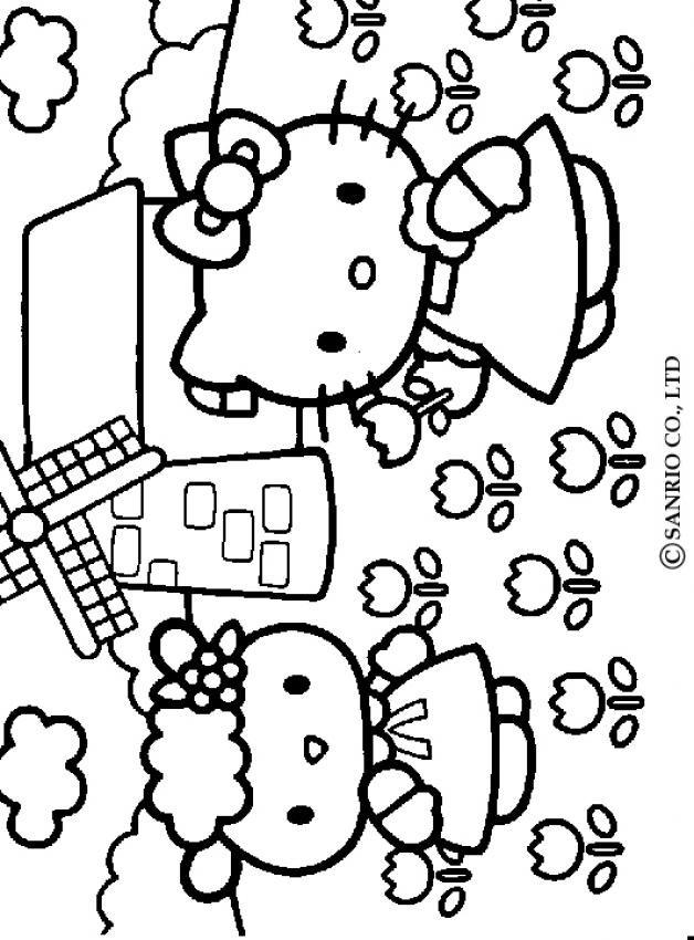 Coloriage et dessins gratuits Hello Kitty à La Campagne à imprimer