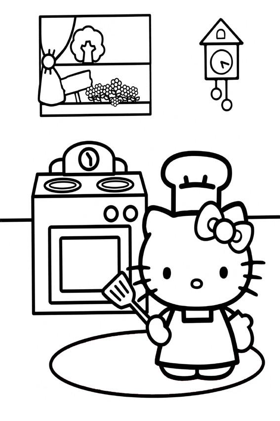 Coloriage Hello Kitty à La Cuisine En Noir Et Blanc